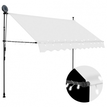 Toldo Manual Retráctil Con Led Color Crema 250 Cm Vidaxl