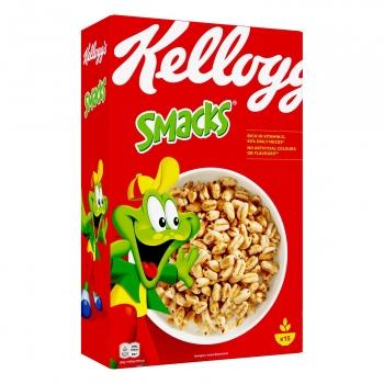 Cereales de trigo con azúcar, jarabe de glucosa y miel Smacks Kellogg's 450 g.