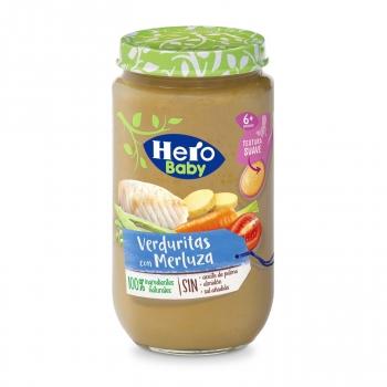 Tarrito de verduritas con merluza desde 8 meses Hero Baby sin aceite de palma 235 g.