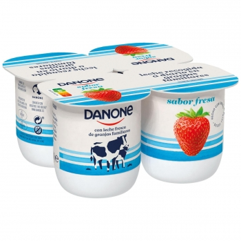 Yogur de fresa Danone sin gluten pack de 4 unidades de 120 g.