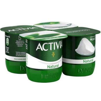 Yogur bífidus natural Danone Activia pack de 4 unidades de 120 g.