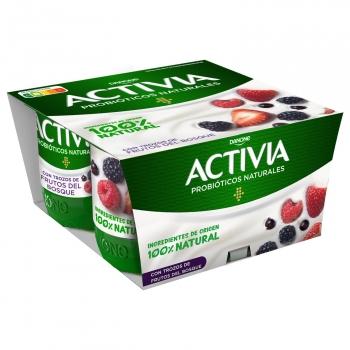 Yogur bífidus con frutos del bosque Danone Activia sin gluten pack de 4 unidades de 120 g.