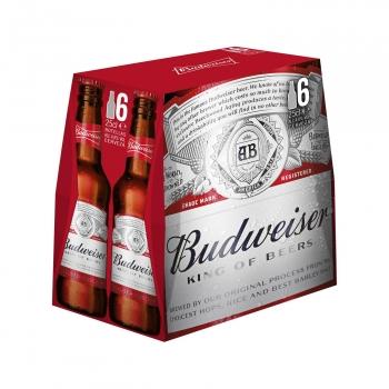 Cerveza Budweiser Lager pack de 6 botellas de 25 cl.