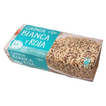 Quinoa roja y blanca microondas Carrefour pack de 2 unidades de 125 g.