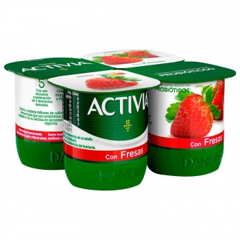 Yogur bífidus con fresa Danone Activia sin gluten pack de 4 unidades de 120 g.