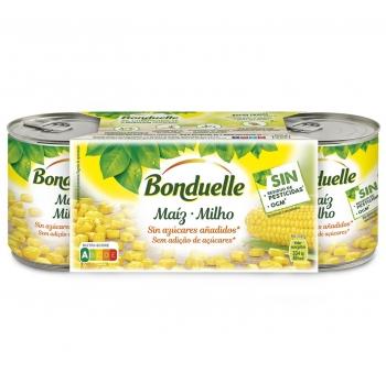Maíz tierno dulce Bonduelle sin lactosa pack de 3 unidades de 140 g.