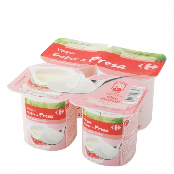 Yogur de fresa Carrefour pack de 4 unidades de 125 g.