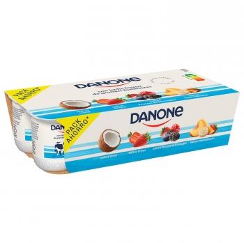 Yogur de coco, fresa, frutos del bosque y macedonia Danone sin gluten pack de 8 unidades de 120 g.
