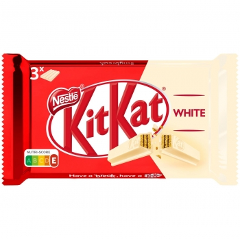 Barrita de galleta crujiente cubierta de chocolate blanco Nestlé Kit Kat 3 unidades de 41,5 g.