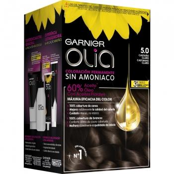 Coloración permanente sin amoniaco para un olor agradable  tono 5.0 castaño claro Garnier Olia 1 ud.