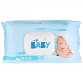 Toallitas bebé fres aloe vera Carrefour 80 ud.