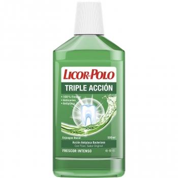 Enjuague bucal triple acción con acción anti placa bacteriana Licor del Polo 500 ml.