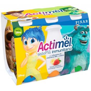 Yogur L.Casei líquido con fresa y plátano Danone - Actimel Kids pack de 6 unidades de 100 g.
