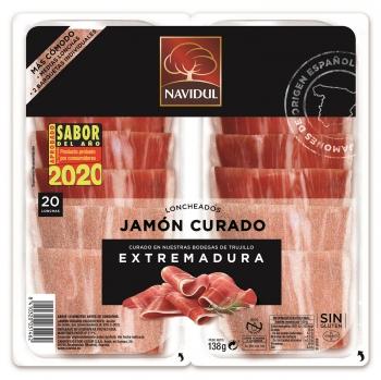 Jamón curado lonchas Navidul sin gluten pack de 2 unidades de 138 g.