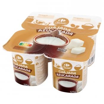 Cuajada azucarada Carrefour Classic' pack de 4 unidades de 125 g.