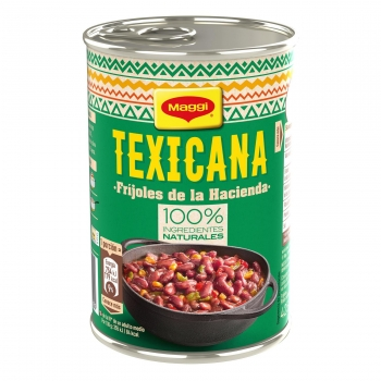 Fríjoles de la hacienda Texicana Maggi sin gluten y sin lactosa 425 g.
