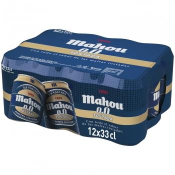 Cerveza Mahou 0,0 sin alcohol tostada pack de 12 latas de 33 cl.