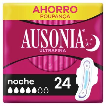 Compresas con alas para noche ultrafina Ausonia 24 ud.