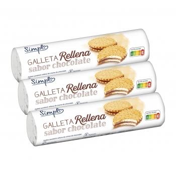 Galletas rellenas de crema sabor chocolate pack de 3 unidades de 250 g.