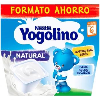 Postre lácteo natural desde 6 meses Nestlé Yogolino sin gluten sin aceite de palma pack de 8 unidades de 100 g.