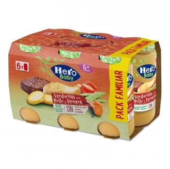 Tarrito de verduritas con pollo y ternera desde 6 meses Hero Baby sin aceite de palma pack de 6 unidades de 235 g.