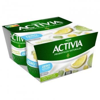 Yogur bífidus desnatado con lima y limón Danone Activia sin gluten pack de 4 unidades de 120 g.