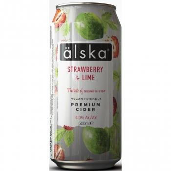 Sidra Alska sabor fresa y lima lata 50 cl.