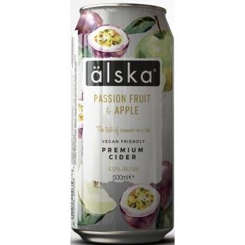 Sidro Alska sabor fruta de la pasión y manzana lata 50 cl.