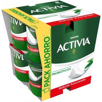 Yogur bífidus natural azucarado Danone Activia pack de 8 unidades de 120 g.