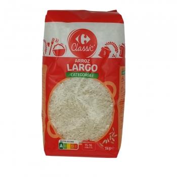 Arroz largo categoría extra Carrefour 1 kg.