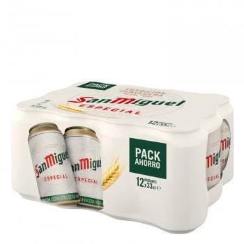 Cerveza San Miguel especial Lager pack de 12 latas de 33 cl.