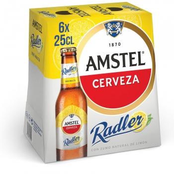 Cerveza Amstel Radler con limón pack de 6 botellas de 25 cl.