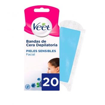 Bandas de cera depilatoria facial para pieles sensibles Veet 20 ud