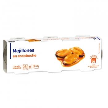 Mejillones en escabeche sin gluten y sin lactosa pack de 3 unidades de 78 g.