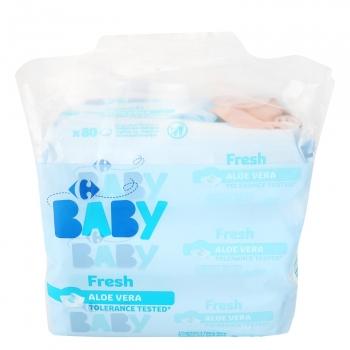 Toallitas para bebé con aloe vera Carrefour pack de 3 paquetes de 80 ud.