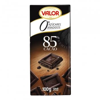 Chocolate negro 85% con stevia sin azúcar añadido Valor sin gluten 100 g.