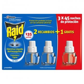 Insecticida líquido eléctrico antimosquitos comunes y tigres recambio Raid 3 ud.