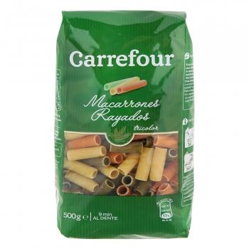 Macarrones rayados vegetales Carrefour 500 g.