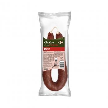Chorizo extra picante Carrefour sin gluten sin lactosa 280 g.