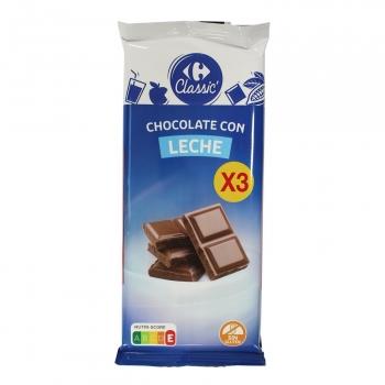 Chocolate con leche extrafino Carrefour pack de 3 tabletas de 150 g.