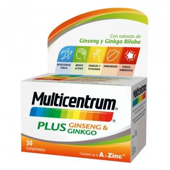 Multivitamínico y multimineralPlus Ginsen & Ginko Multicentrum 30 comprimidos.