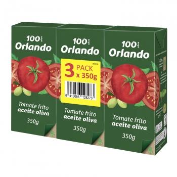 Tomate frito con aceite de oliva virgen extra Orlando pack de 3 briks de 350 g.