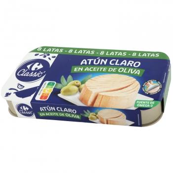 Atún claro en aceite de oliva Carrefour pack de 8 latas de 52 g.