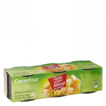 Macedonia de frutas en almíbar ligero Carrefour pack de 3 unidades de 115 g.