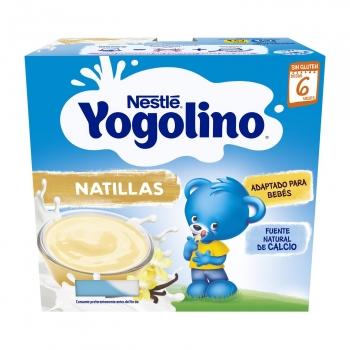 Postre lácteo de natillas desde 6 meses Nestlé Yogolino sin gluten sin aceite de palma pack de 4 unidades de 100 g.