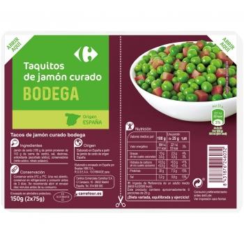 Jamón curado en tiras Carrefour 150 g.