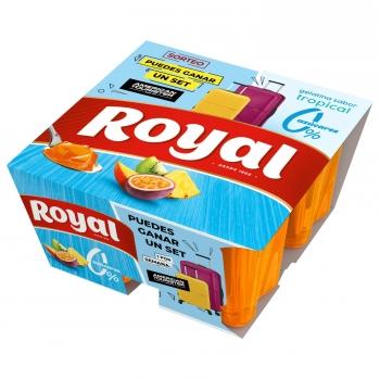 Gelatina sabor tropical Royal pack de 4 unidades de 100 g.
