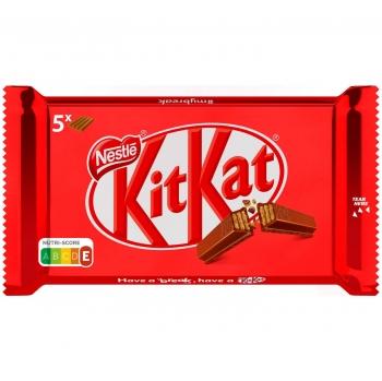Barritas de galleta crujiente cubiertas de chocolate con leche Nestlé Kit Kat 5 ud.