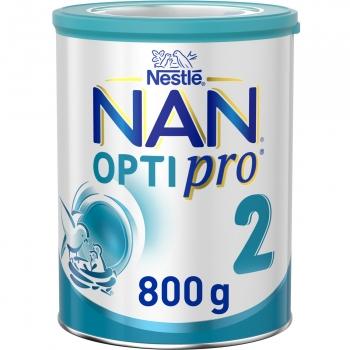 Leche infantil de continuación desde los 6 meses en polvo Nan Optipro 2 lata 800 g.