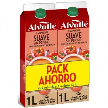 Gazpacho suave sin pepino Alvalle pack de 2 unidades de 1 l.